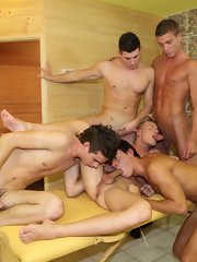 Five-boy raw fuckfest